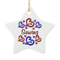 LOVE LOVE Sewing Ceramic Ornament