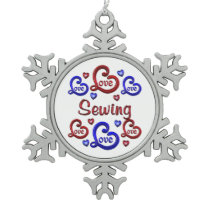 LOVE LOVE Sewing Snowflake Pewter Christmas Ornament
