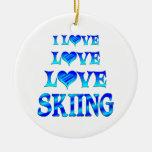 Love Love Skiing Christmas Ornament