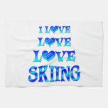 Love Love Skiing Kitchen Towels