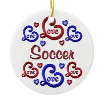 LOVE LOVE Soccer Ceramic Ornament