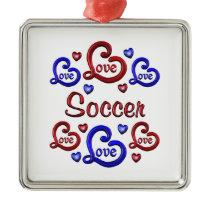 LOVE LOVE Soccer Metal Ornament
