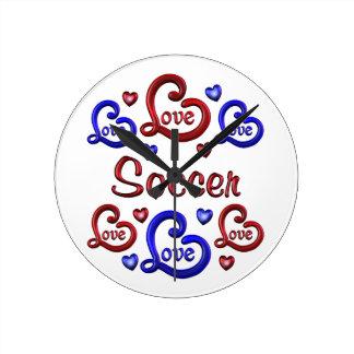 LOVE LOVE Soccer Round Clock