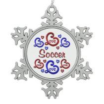 LOVE LOVE Soccer Snowflake Pewter Christmas Ornament