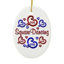 LOVE LOVE Square Dancing Ceramic Ornament
