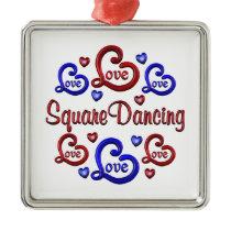 LOVE LOVE Square Dancing Metal Ornament