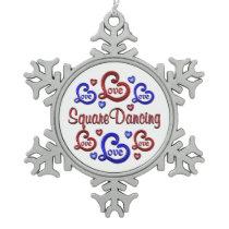 LOVE LOVE Square Dancing Snowflake Pewter Christmas Ornament