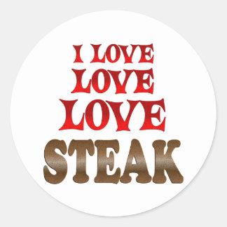 Love Love Steak Classic Round Sticker