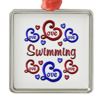 LOVE LOVE SWIMMING METAL ORNAMENT