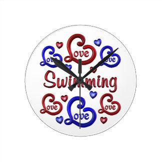 LOVE LOVE SWIMMING ROUND CLOCK
