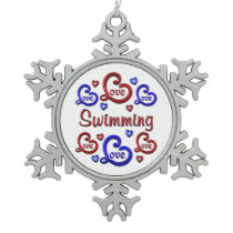 LOVE LOVE SWIMMING SNOWFLAKE PEWTER CHRISTMAS ORNAMENT