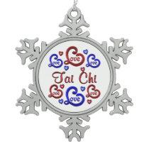 LOVE LOVE Tai Chi Snowflake Pewter Christmas Ornament