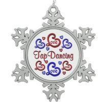 LOVE LOVE Tap Dancing Snowflake Pewter Christmas Ornament