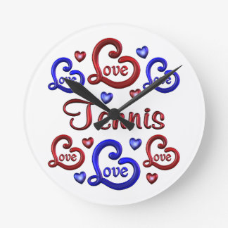 LOVE LOVE TENNIS ROUND CLOCK