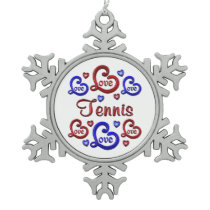 LOVE LOVE TENNIS SNOWFLAKE PEWTER CHRISTMAS ORNAMENT