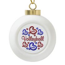 LOVE LOVE VOLLEYBALL CERAMIC BALL CHRISTMAS ORNAMENT