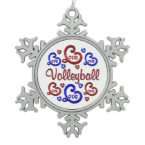 LOVE LOVE VOLLEYBALL SNOWFLAKE PEWTER CHRISTMAS ORNAMENT