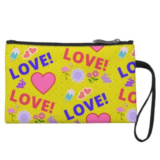 Love-Love Yellow Bunny Heart Flamingo Mini Clutch