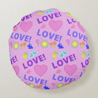 Love-Love Yellow Pink Reversible Pillow
