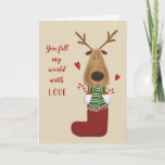 """Love Lover Spouse Partner Christmas Greeting Holiday Card<br><div class=""""desc"""">Oh what fun... .they fill your world with love. Red hearts around a romantic reindeer stuffed in a stocking along with a few candy canes.  What a stocking stuffer!  See more Christmas greeting cards at Zigglets here at Zazzle.</div>"""