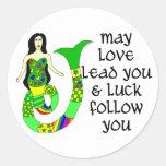Love & Luck Irish Mermaid Classic Round Sticker
