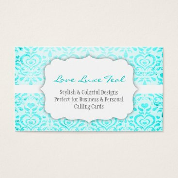 Professional Business Love Luxe Teal Bizcard Business Card