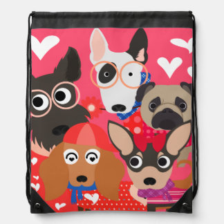 Love-ly Dogs Drawstring Backpack Bag