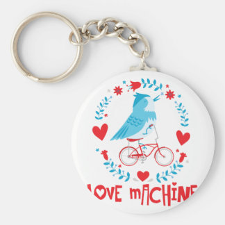 Love Machine Bluebird Bird on Bicycle Keychain