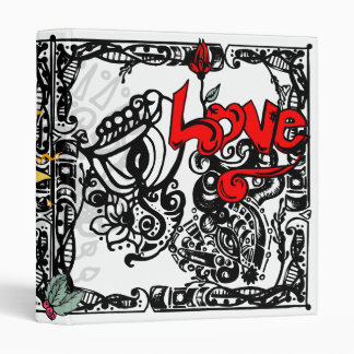 Love Madness Doodle 3 Ring Binder
