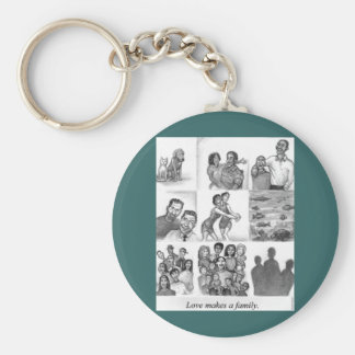 Love makes a family basic round button keychain