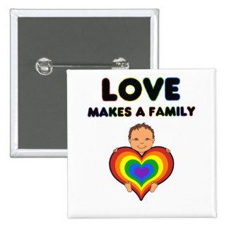 Love Makes a Family Tan Skin Baby Pin / Button
