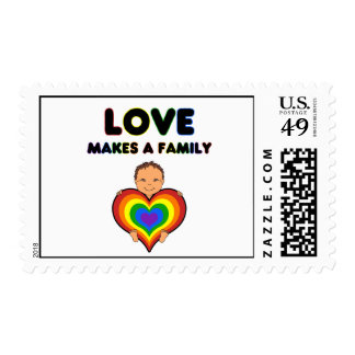 Love Makes a Family Tan Skin Postage Stamp