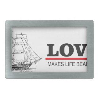 love makes life beautiful rectangular belt buckle