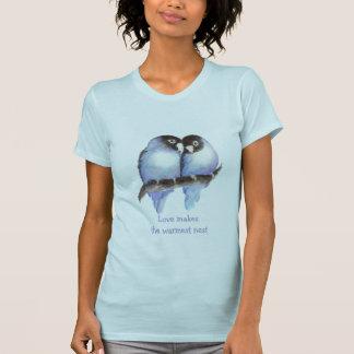Love Makes the Warmest Nest  Blue Lovebirds, Bird T-Shirt