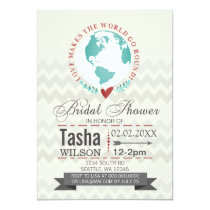Love Makes The World Go Round Bridal Shower Invite