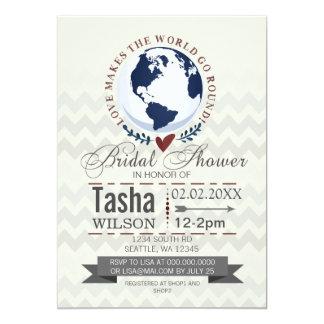 Love Makes The World Go Round Bridal Shower Invite