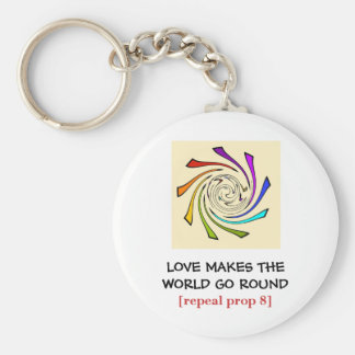 love makes the world go round/repeal prop 8 keychain