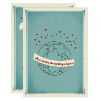 Love Makes The World Go Round Wedding Invitation