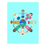 Love makes this world one family postcard