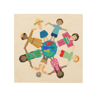 Love makes this world one family wood wall art
