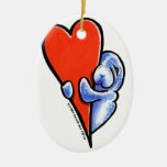 Love Manatees Double-Sided Oval Ceramic Christmas Ornament