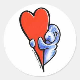 Love Manatees Classic Round Sticker