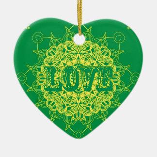 Love Mandala Design Ceramic Ornament