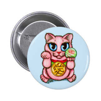 LOVE Maneki Neko Good Luck Cat Cute Art Button