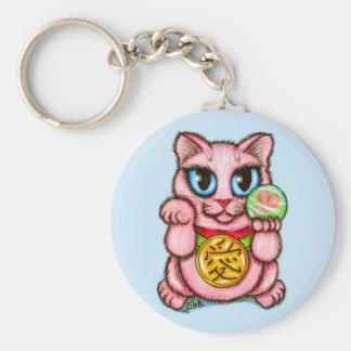LOVE Maneki Neko Good Luck Cat Cute Art Keychain