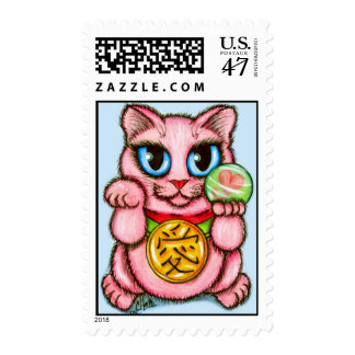 LOVE Maneki Neko Good Luck Cat Cute Art Postage