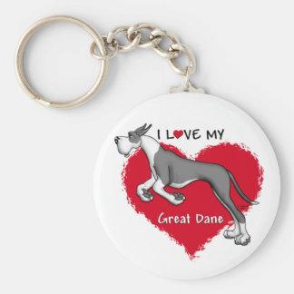 Love Mantle Great Dane Basic Round Button Keychain