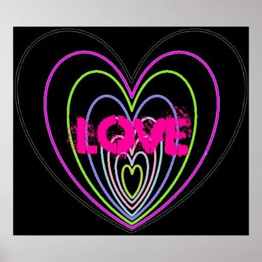 Pics For > Neon Colored Hearts