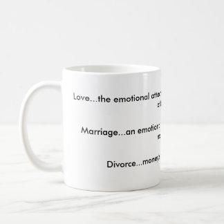 Love, Marriage, Divorce mug