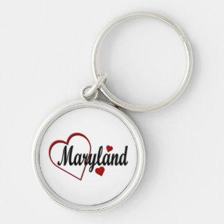 Love Maryland Hearts Premium Keychain